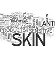 beauty from the inside for sensitive skin text vector image vector image