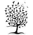 black birds tree background vector image