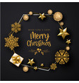 black merry christmas background vector image