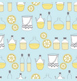 bottles of oil vase and lemon-spa in the country vector image