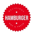 Burger vintage label red vector image