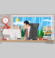 businessman at work modern office workspace vector image vector image