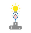 businessman character holding up glowing light vector image vector image