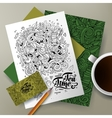 Cartoon doodles Tea corporate identity set vector image vector image