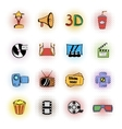 Cinema comics icons set vector image vector image