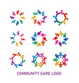 colorful social community care logo with vector image