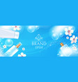 cosmetic bottles and tubes with soap foam and vector image