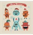 cute retro hipster christmas monsters set vector image
