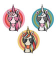 cute unicorn face wearing vector image vector image