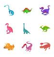 different type of dinosaur icons set vector image vector image