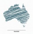 Doodle sketch of Australia map vector image vector image