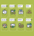 finances management green color linear icons set vector image