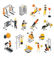 fitness in gym isometric icons set vector image vector image