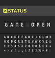 flip board airport flight status gate open vector image vector image