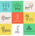 Floral design line logo vector image