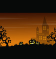 halloween scary castle and pumpkin landscape vector image vector image