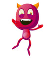 happy devil jumping on white background vector image vector image