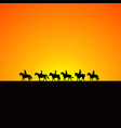 horse riders silhouettes at sunrise vector image vector image