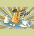 hot coffee milk sugar and a cup vector image