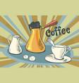 hot coffee milk sugar and a cup vector image vector image