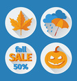 icons set autumn flat design vector image vector image