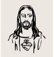 jesus christ with the sacred heart vector image vector image