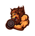 lion lifting dumbbells vector image vector image