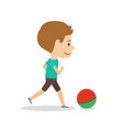 little boy running with ball vector image
