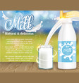 milk natural and delicious dairy product ad vector image