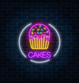 neon glowing sign of cake with glaze in circle vector image vector image