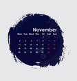 november 2019 calendar templatestarts from vector image