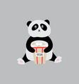 panda with popcorn bag - cartoon animal sitting vector image vector image