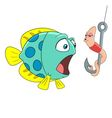 passionate cartoon worm and surprised fish vector image vector image