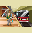 people waiting in a train station vector image