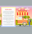 popcorn banner and text sample vector image vector image