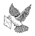 postal dove with letter engraving style vector image vector image