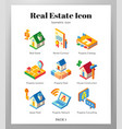 real estate icons isometric pack vector image