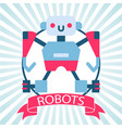 robot toy with banner on retro vector image