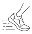 running fast thin line icon footwear sport shoes vector image vector image
