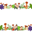 seamless border of mushrooms and herbs vector image vector image
