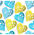 seamless pattern paper hearts blue and yellow vector image vector image