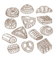 set of cakes and pastries in hand drawn doodle vector image vector image