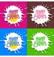 Set of Happy Easter lettering backgrounds vector image vector image