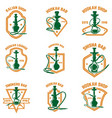 set of hookah labels design element for logo vector image vector image