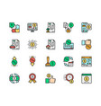 set quick loan flat color line icons vector image