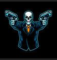skull wearing suit aiming guns vector image