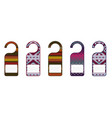 tags for doors with knitted ornaments vector image