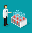 the lab technician stands with a test tube in his vector image