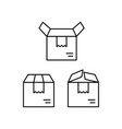 thin line delivery box icons on white background vector image vector image