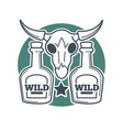 two wild bottles and buffalo skull with horns on vector image vector image